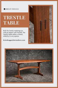 Built for family meetings as well as feasts with friends, the trestle table adds a classic stability to any space. Generously sized with mirrored matching boards, the bowed edges of the tabletop allow for easy gatherings. Double tenons through the supporting posts at each end display the art of the craftsman, simultaneously creating a beautiful detail and ensuring the endurance of the piece through generations. #table #trestletable #BrianBoggs #woodtable #furniture #craftsman Trestle Table, Dining Bench, Graphic Art Prints, Summer Painting, Room Interior Design, Wooden Tables, Contemporary Paintings, Home Accents, Diy Ideas