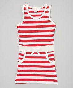 Red & White Stripe Pocket Dress - Infant, Toddler & Girls