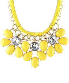 Yellow Drop Gemstone Chain Necklace 9.60