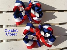 Boutique pigtail bow set for the 4th of July