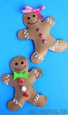Stuffed Gingerbread Man & Girl Craft #Christmas craft for kids | CraftyMorning.com