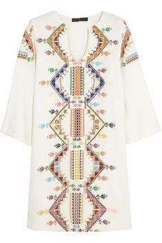 Kate Moss for Topshop|Embroidered shantung mini dress|NET-A-PORTER.COM