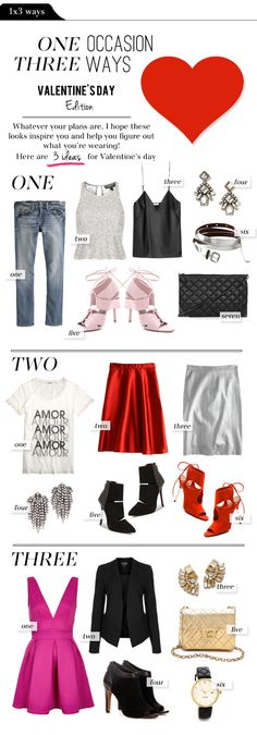 Happy Friday everyone!!! Since Valentine's Day is approaching, I thought I'd give you some outfit ideas...