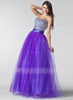 Prom Dresses - $158.99 - A-Line/Princess Sweetheart Floor-Length Tulle Charmeuse Prom Dress With Ruffle Beading Sequins (018004898) http://jjshouse.com/A-Line-Princess-Sweetheart-Floor-Length-Tulle-Charmeuse-Prom-Dress-With-Ruffle-Beading-Sequins-018004898-g4898