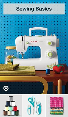 Set up a sewing station with tools, fabric & a machine to take on easy sewing projects or learn fun patterns, techniques & hacks. sewing projects for beginners Sewing Machine Basics, Sewing Machine Projects, Easy Sewing Projects, Sewing Projects For Beginners, Sewing Basics, Sewing Hacks, Sewing Tutorials, Sewing Crafts, Sewing Machines