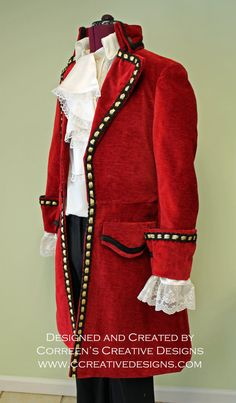 Captain Hook Pirate Costume Custom Made Mens by correenscdesigns