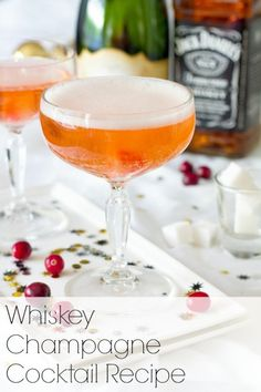 Whisky champagne cocktail recipe for New Year's Eve. What do you think? See more party ideas at CatchMyParty.com. #newyearseve #champagne #cocktails