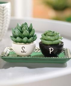 A sweet centerpiece at your next family dinner or special shindig, this whimsical pair of salt and pepper shakers adds a dash of quirky cool to your abode. Cactus Decor, Salt And Pepper Set, Salt Pepper Shakers, Home Decor Kitchen, Tea Set, Sweet Home, Goodies, Pottery, Clay