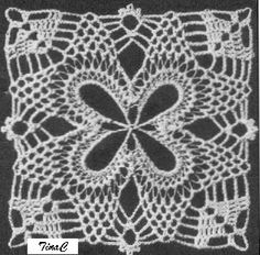 Totally Free Crochet Pattern Blog - Patterns: Hairpin Lace Pineapple Square 735 Free Crochet Pattern