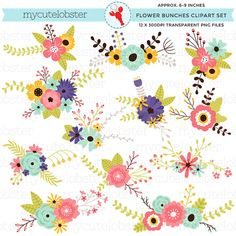 Flower Bunches Clipart Set floral clipart by mycutelobsterdesigns