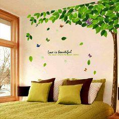【木の葉と蝶】大きいサイズ ウォールステッカー ウォールペーパー シール 防水!リビング/子供部屋/お風呂にもOK♪
