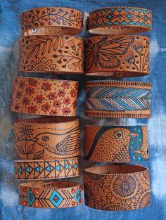 Beautiful pyrography on leather by Geninne Zlatkis  Make nice bracelets