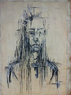 Serica Bawden - Charcoal and acrylic paint self portrait on A1 stained paper