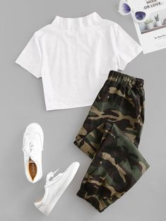 Camouflage Crop Two Piece Suit Girls Fashion Clothes, Teen Fashion Outfits, Retro Outfits, Outfits For Teens, 90s Fashion, Bar Outfits, Vegas Outfits, Woman Outfits, Club Outfits