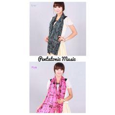 Music Pattern Crinkle Shawl Price : 90.000 IDR  Instagram : pentatonicmusic  Website : pentatonic-music.com
