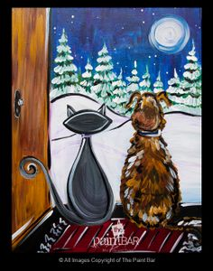 Winter Buddies in the Snow Painting - Jackie Schon, The Paint Bar