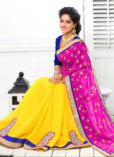 Deepika Singh Magenta And Yellow Georgette Embroidery Work Half N Half Saree http://www.angelnx.com/Sarees/Bollywood-Sarees