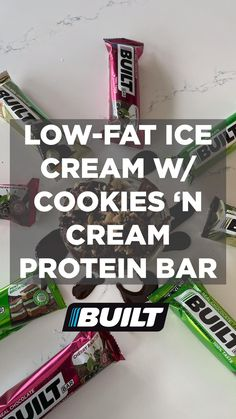 Looking for yummy & healthy protein snacking options? Order a box of Cookies 'N Cream Built Protein Bars today & receive 15% off at check out with code PIN15. Protein Bar Recipes, High Protein Snacks, Healthy Protein, Protein Foods, Protein Bars, Healthy Snacks, Healthy Recipes, Low Fat Ice Cream, Cute Food