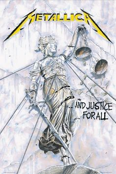 The only thing soft about this poster is the material it was made from. This 30 X 40 Metallica fabric poster features album artwork from their fourth studio album, .And Justice For All. Arte Heavy Metal, Heavy Metal Music, Heavy Metal Bands, Rock Posters, Band Posters, Concert Posters, Guitar Posters, Metallica Albums, Metallica Art