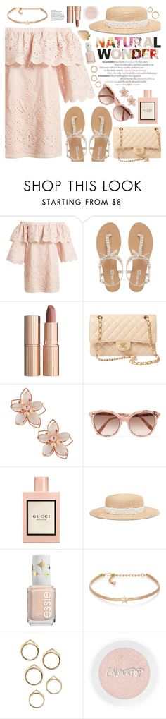 """natural wonder"" by valentino-lover ❤ liked on Polyvore featuring Parker, Head Over Heels by Dune, Charlotte Tilbury, Chanel, NAKAMOL, Victoria Beckham, Gucci, Eugenia Kim and Kenneth Jay Lane"