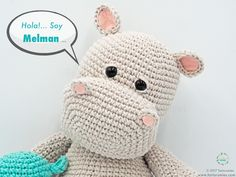 Amigurumi Pattern: The hippopotamus Melman and his friend Pi - Tarturumies Crochet Hippo, Crochet Animal Amigurumi, Crochet Amigurumi Free Patterns, Amigurumi Doll, Crochet Animals, Free Crochet, Knitting Patterns, Crochet Hats, Giraffe Toy