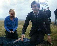 On set of filming Doctor Who New Earth