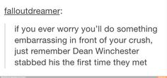OMG and can't forget that when Cas met his crush (as a human) for the first time he said some pretty weird stuff.