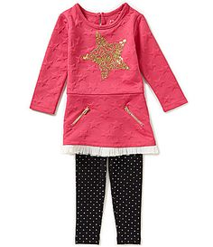 Flapdoodles Little Girls 2T6X Gold Star Dress and Leggings Set #Dillards