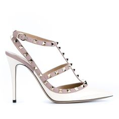 Valentino Garavani 'Rockstud' pumps (1,393 CAD) ❤ liked on Polyvore featuring shoes, pumps, white, stiletto pumps, patent leather shoes, ankle strap stilettos, ankle strap shoes and patent pumps