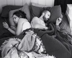 A familiar scene? A couple pose in bed as if they were using their mobile phones. The artist behind the photoseries, Eric Pickersgill, says he was inspired to create the images after seeing just how addicted people are to their mobile phones