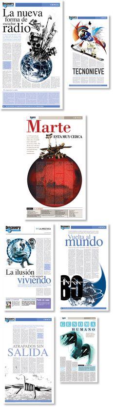 Diseño de suplemento semanal de Discovery Channel para el periódico La Prensa, Nicaragua. Trabajo realizado para 4M.