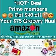 HOT DEAL$75 of groceries only $35.00 GO to link in my bio @tomorrowsmom to order yours. . . . Visit My Blog: TomorrowsMom.com |Organic & Natural Deals|Family Savings Deals| . TAG OR DM THIS DEAL 2 A FRIEND . . #frugal #savings #deals #cosmicmothers  #organic #fitmom #health101 #change #nongmo #organiclife #crunchymama #organicmom #gmofree #organiclifestyle #familysavings  #healthyhabits #lifechanging #fitpeople #couponcommunity #deals  #healthyppl #motherhood #organiccouponing  #tomorrowsmom