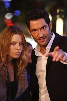 Tom Ellis and Lauren German in Lucifer (2015)