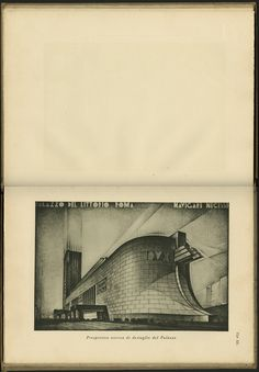 """Page spread, """"Theoretical perspective detail of the Palace,"""" in Palazzo del Littorio: Progetto (Fascist Palace: Plan), 1934                                                                                                                  Written and illustrated by Mario Palanti (Italian, 1885-1979)                                                                               Published by Rizzoli & C., Milan"""