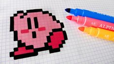 Handmade Pixel Art - How To Draw Kawaii Kirby #pixelart