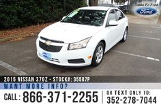 2012 Chevrolet Cruze LT - Compact Sedan - Turbocharged 1.4L Engine - Remote Keyless Entry - Alloy Wheels - Tinted Windows - Safety Airbags - Seats 5 - Powered Windows, Locks and Mirrors - AM/FM/CD/MP3 - XM Satellite - iPod/AUX Jack - USB Port - Bluetooth - Digital Compass - Outside Temperature Display - OnStar - Cruise Control and more!