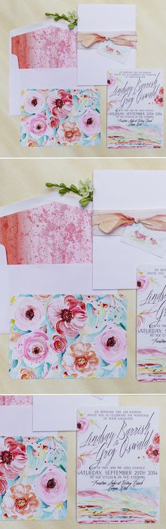 Colorful Rustic Mountain Watercolor Wedding Invitations  #momentaldesigns…