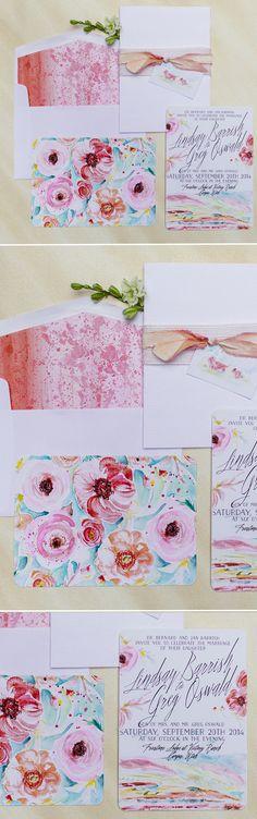 Colorful Rustic Mountain Watercolor Wedding Invitations  #momentaldesigns #watecolorweddinginvitations #watercolorlandscape #watercolorspatter