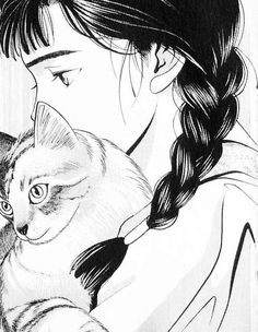cat, girl, and manga image
