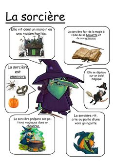 Fiche matière - Sorcière Theme Halloween, Halloween 2016, Halloween Crafts, Happy Halloween, Halloween Decorations, Bricolage Halloween, French Christmas, Activities For Kids, Teaching
