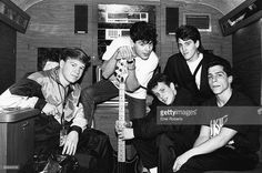 FORGE Photo of NEW KIDS ON THE BLOCK and Jordan KNIGHT and Joey McINTYRE and Jonathan KNIGHT and Donnie WAHLBERG and Danny WOOD, Posed group portrait L-R Donnie Wahlberg, Jordan Knight, Joey McIntyre, Jonathan Knight and Danny Wood