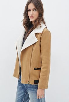 Faux Shearling-Lined Moto Jacket | Forever 21 Contemporary - 2000102430