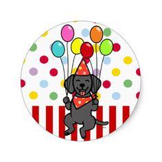 Black Lab Puppy Birthday Balloons Round Sticker!  Black Labrador Cartoon.  #labrador #labradorretriever #birthday #sticker