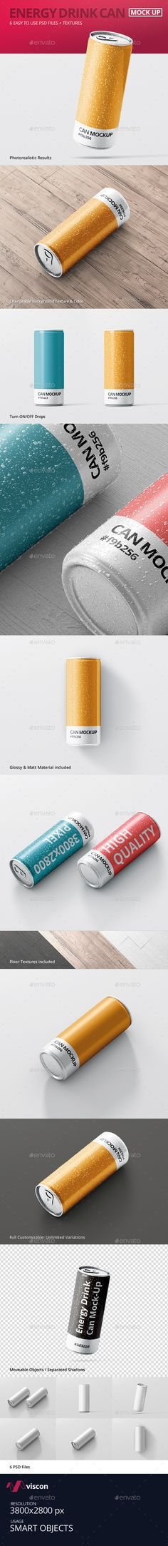 Energy Drink Can MockUp — Photoshop PSD #aluminium #packaging • Available here → https://graphicriver.net/item/energy-drink-can-mockup/12447508?ref=pxcr