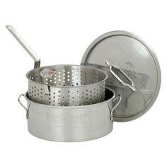 0dcc4fc4d Bayou Classic 10-Quart Stainless Steel Fry Pot Lid(S) Basket(S