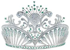 Diamond and emerald tiara Royal Crowns, Royal Tiaras, Tiaras And Crowns, Diamond Tiara, Emerald Diamond, Miss Usa, Royal Jewelry, Circlet, Crown Jewels