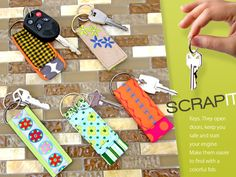 Scrap-It: Mini Key Fobs http://www.sew4home.com/projects/fabric-art-accents/scrap-it-mini-key-fobs?utm_source=Sew4Home_campaign=98586c70f5-20130304eNewsletterREV3_3_2013_medium=email