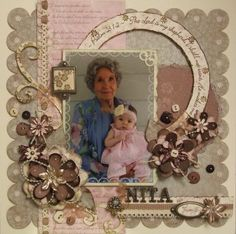 A Shadow box scrapbook page I created in honor of my Hubby's Grandmother
