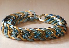 Gold and blue chainmaille bracelet 4in1 Persian square anodized aluminum via Etsy