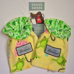 "Froggies Saddle Savers with green ""spring themed"" fabric lining"
